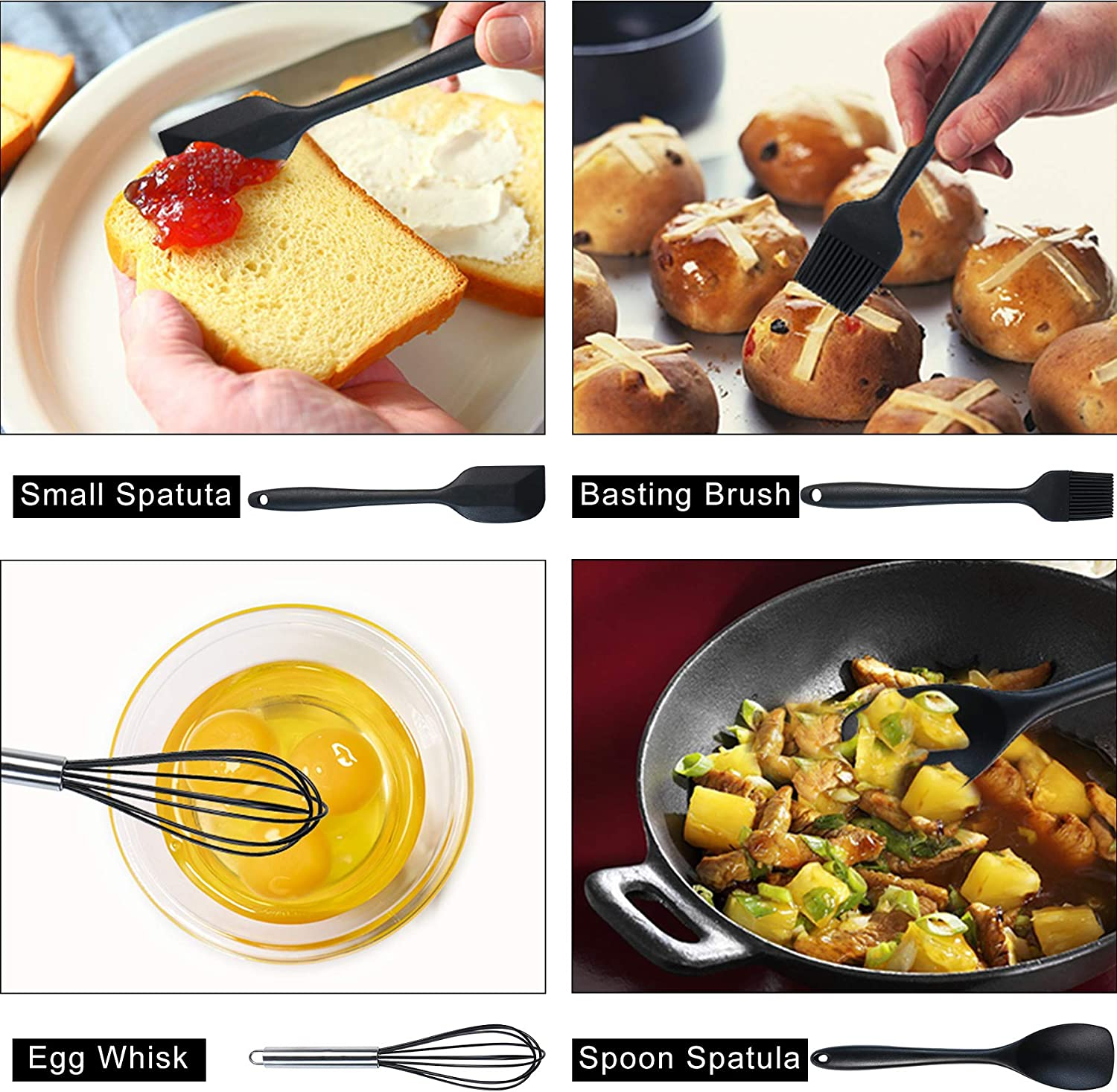 Silicone Kitchen Utensils JXFSSY Kitchen Utensil Set 16pcs Silicone Cooking Utensils Set Cooking Tools Turner Tongs Nonstick Spatula Spoon for Nonstick Heat Resistant Cookware
