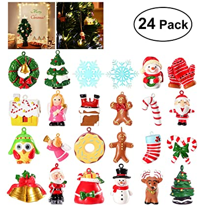 Resin Christmas Ornaments.Unomor 24 Resin Christmas Tree Decorations Christmas Tree Ornaments With Santa Clause Snowman Angle And More