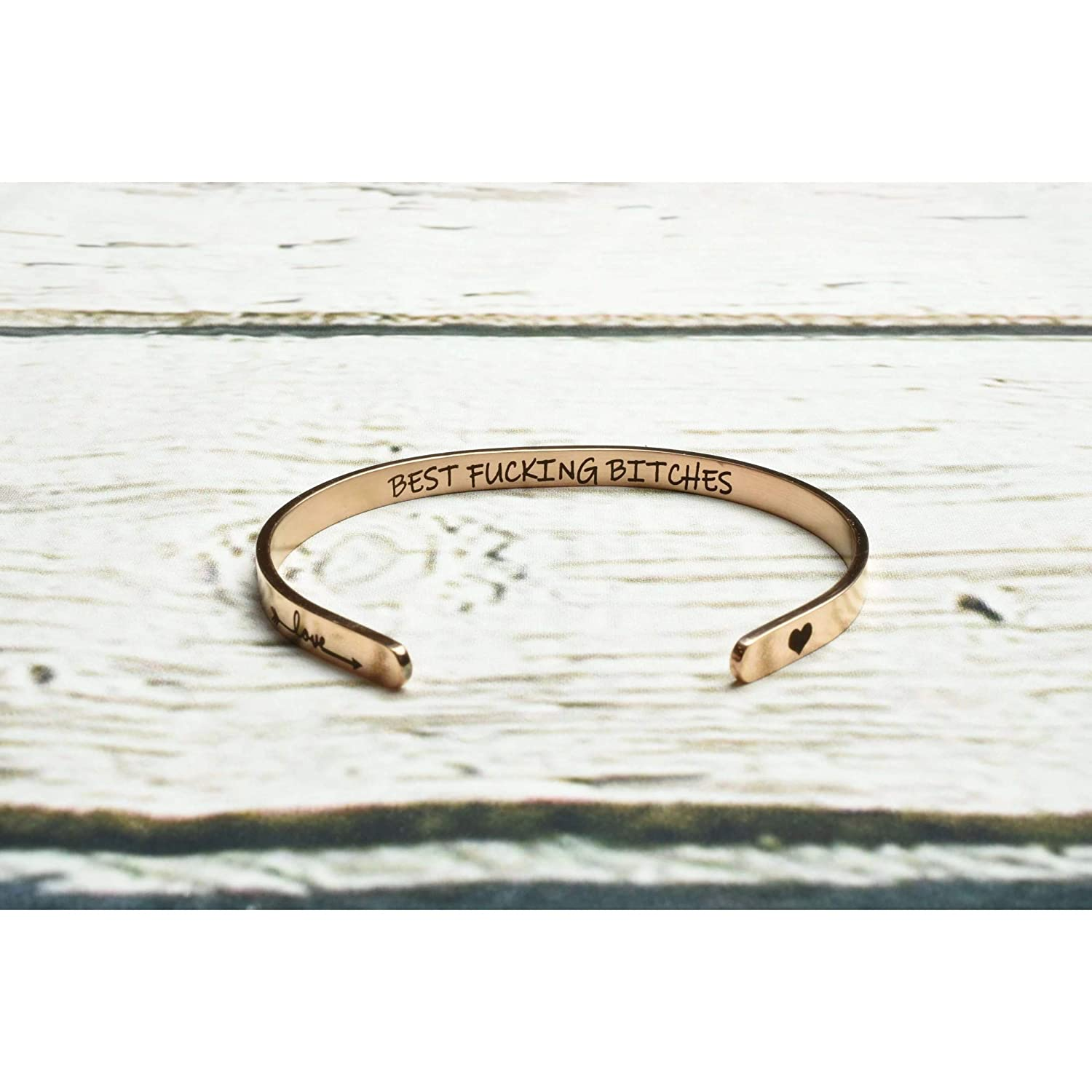 Pink Box Inspirational Gifts for Women Cuff Bracelet Bangle Stainless Steel Engraved