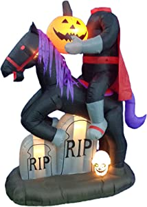 6.5 Foot Tall Lighted Halloween Inflatable Headless Horseman with Pumpkin LED Lights Decor Outdoor Indoor Holiday Decorations, Blow up Lighted Yard Decor, Giant Lawn Inflatables Home Family Outside