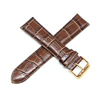 Lucien Piccard 22MM Alligator Grain Genuine Leather Watch Strap Band 8 Inches Brown Rose Gold LP Initial Buckle