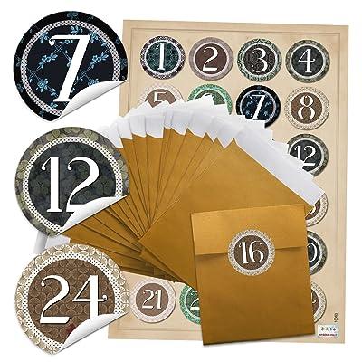 '96 (9,5 x 14 cm Noël dorées) + 96 autocollants rondes 4 cm Autocollantes «Vintage», «Chiffres de 1 à 24 pour calendrier de l'avent superbe Calendrier de l'Avent soi-même manuels; Q