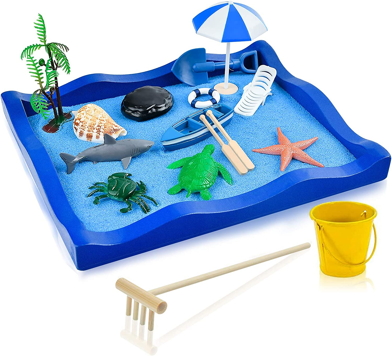 Zen Garden,Beach Sandbox Zen Garden for desk,Mini Zen Garden Sea Life-Sand Tray Play Kit for Kids, Adults, Office - Desk Sand Box Gift Set,Meditation Relaxation Decor,Mother & Father Chirdren Day Gift