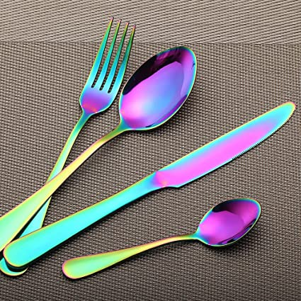 LEKOCH 4 Piece Stainless Steel Flatware Set Including Steak Fork Spoons  Knife Tableware (Colorful