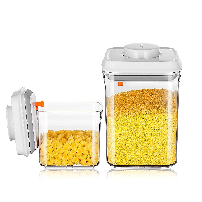 ANKOU, contenitore ermetico per cereali, senza BPA. Contenitore per alimenti:contenitore per pasta o caramelle, barattolo per caffè, zucchero. Confezione da 2 pezzi, plastica, AS 1.5 L + 0.5 L barattolo per caffè