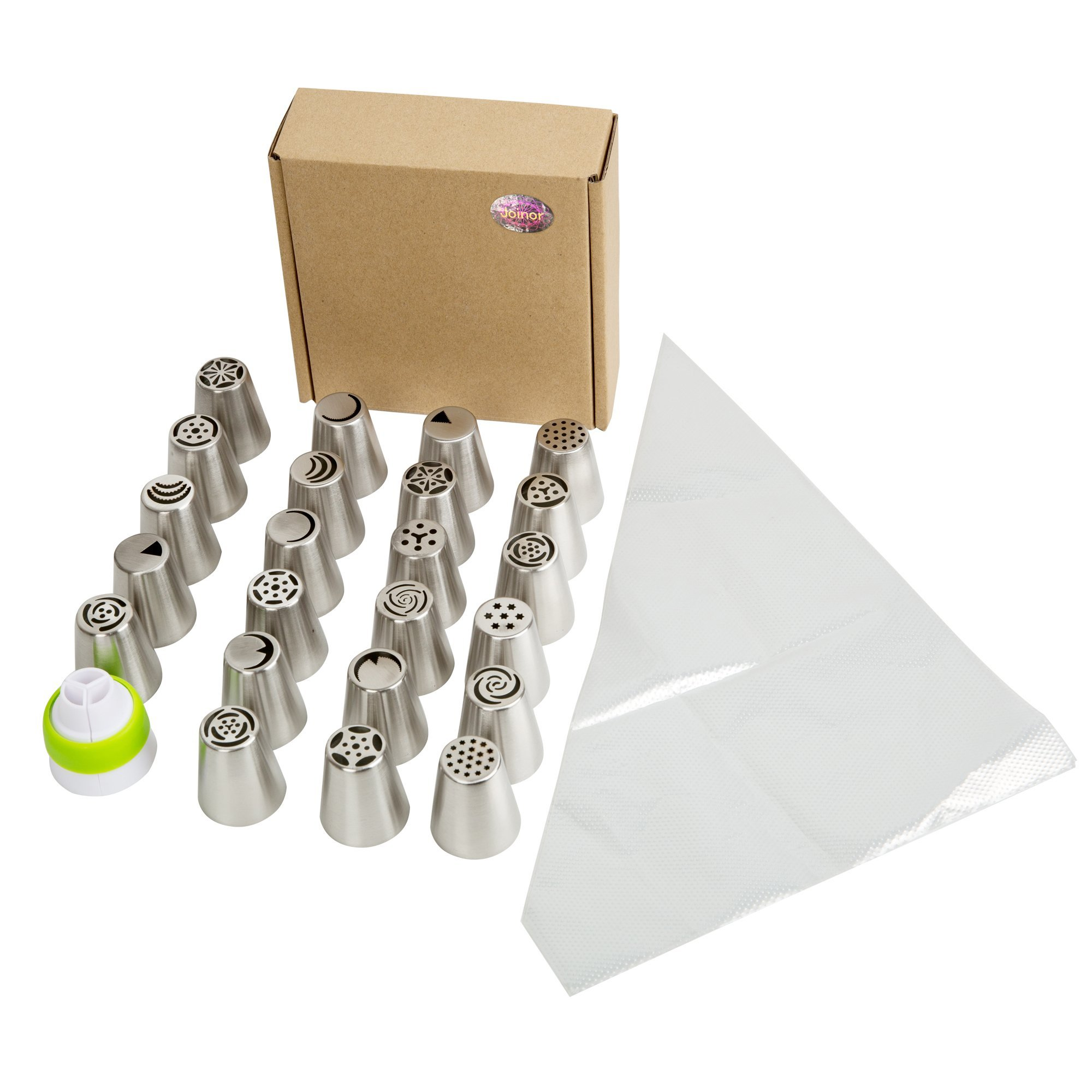 Joinor Russian Piping Tips Set 28PCS/SET(23 Nozzles+4 Pastry Bags+Coupler) 304 Stainless Nozzle Kit for Decorating Cake and Icing Cupcake