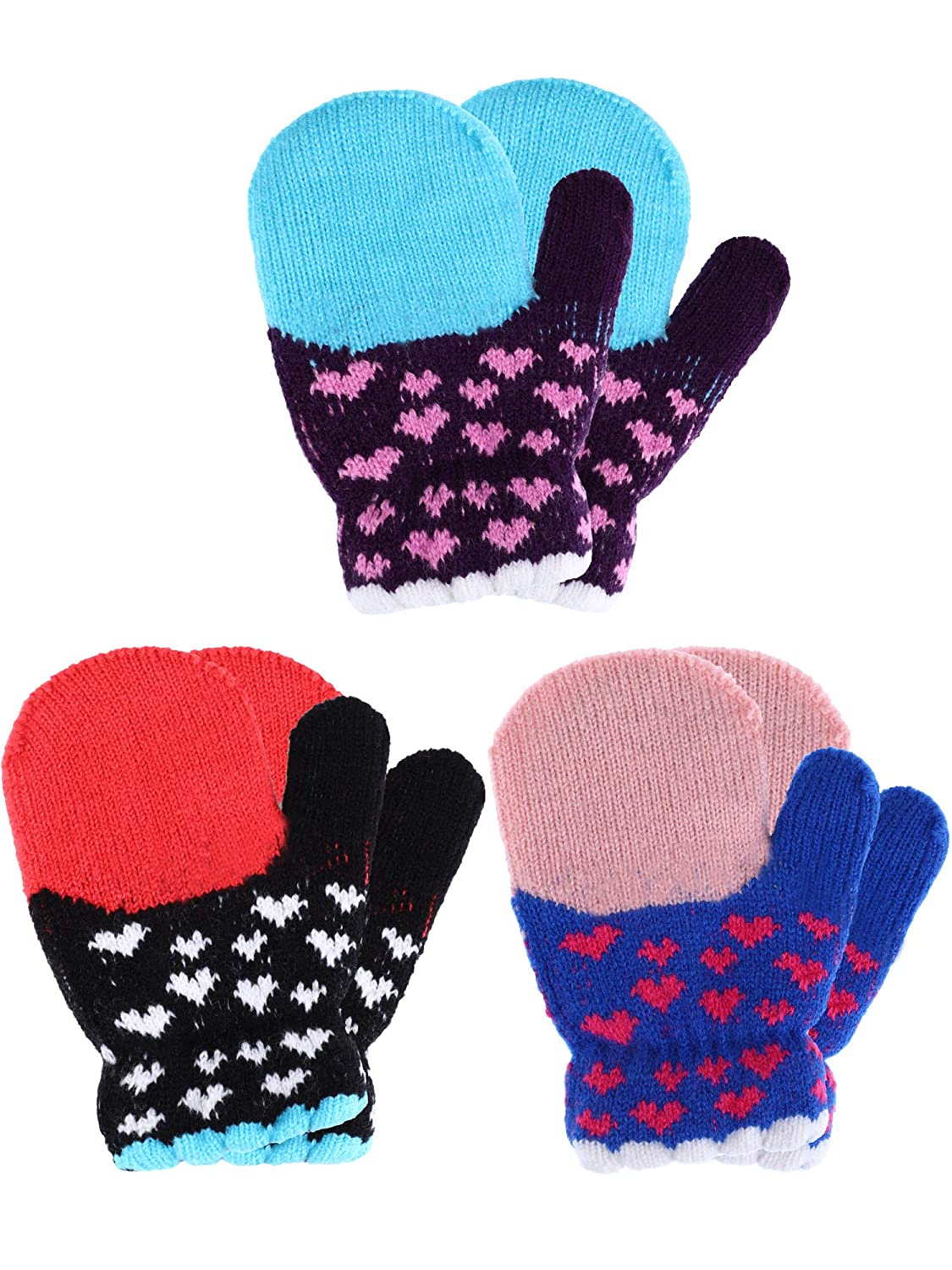 Tatuo 3 Pairs Full Finger Kids Gloves Winter Warm Knitted Mittens Plush Thicken Christmas Gloves for Infant Boys Girls