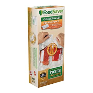 """FoodSaver GameSaver 11"""" x 16' Portion Pouch Vacuum Seal Long Roll with BPA-Free Multilayer Construction, 2 Pack"""