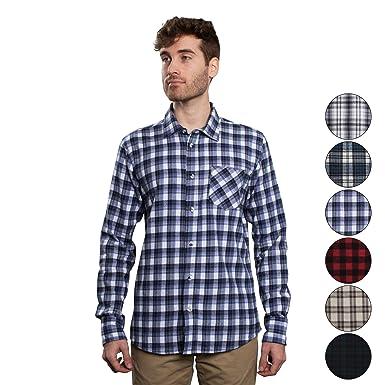 b7054bd1 Men's Untucked Plaid Flannel Shirt: Slim Fit, Long Sleeve - Misti Blue &  White