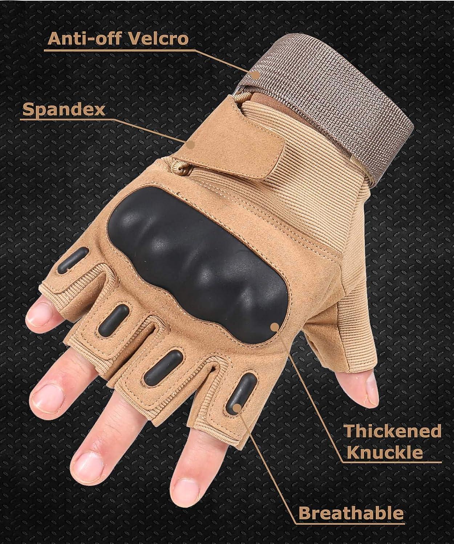 tiro HIKEMAN Guantes de airsoft para hombres y mujeres dedo completo y medio dedo duro nudillo guantes para caza madera industria pesada ciclismo senderismo motocicleta