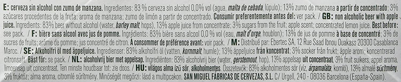 San Miguel 0,0% Manzana Cerveza - Paquete de 6 x 250 ml - Total: 1500 ml: Amazon.es: Amazon Pantry