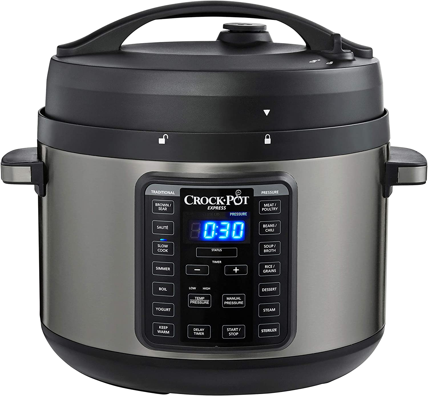 Crock-Pot 2097590 10-Qt. Express Crock Multi-Cooker with Easy Release Steam Dial, 10QT, Black Stainless
