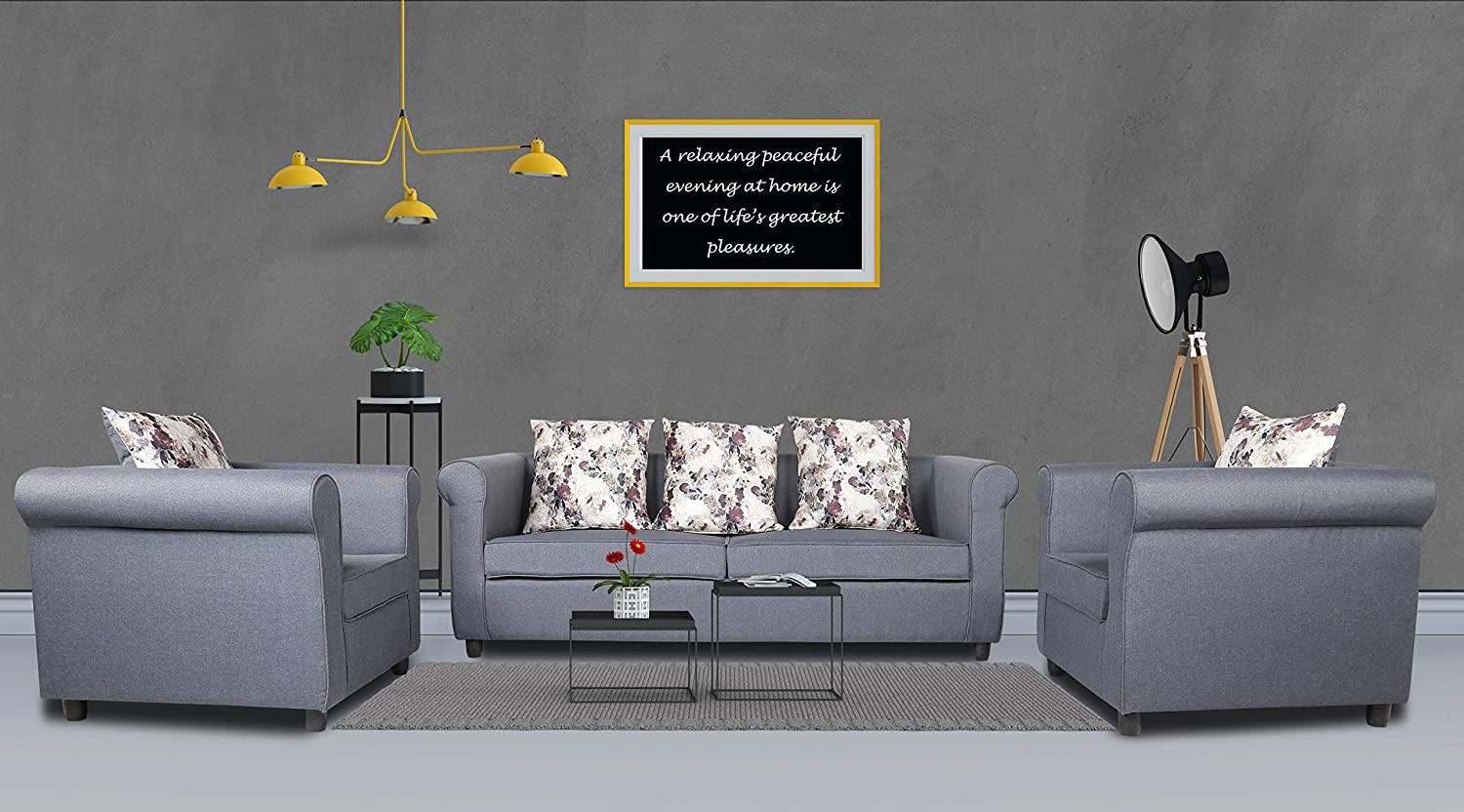 Adorn India Magnum 3-1-1 Sofa Set (Dark Grey)
