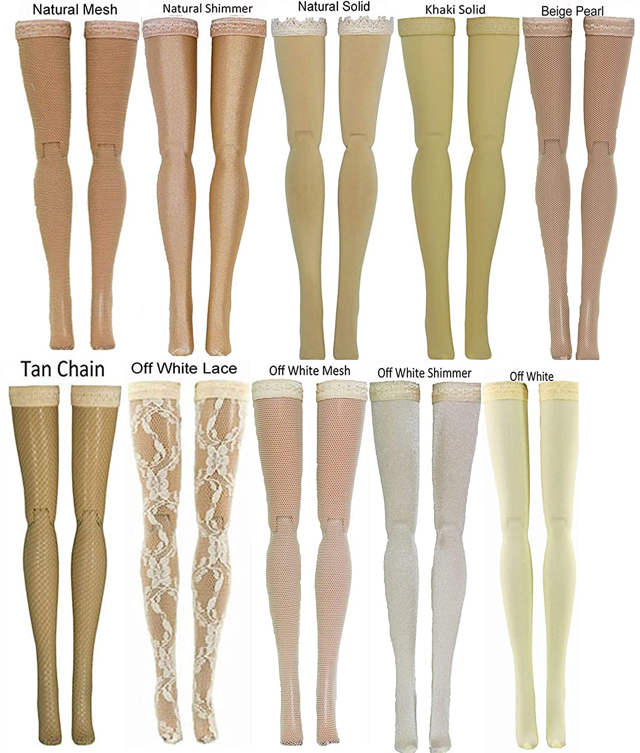 Beige Doll Stockings for Barbie - Francie - Skipper - Made to Move - Silkstone - Curvy - Tall - Petite