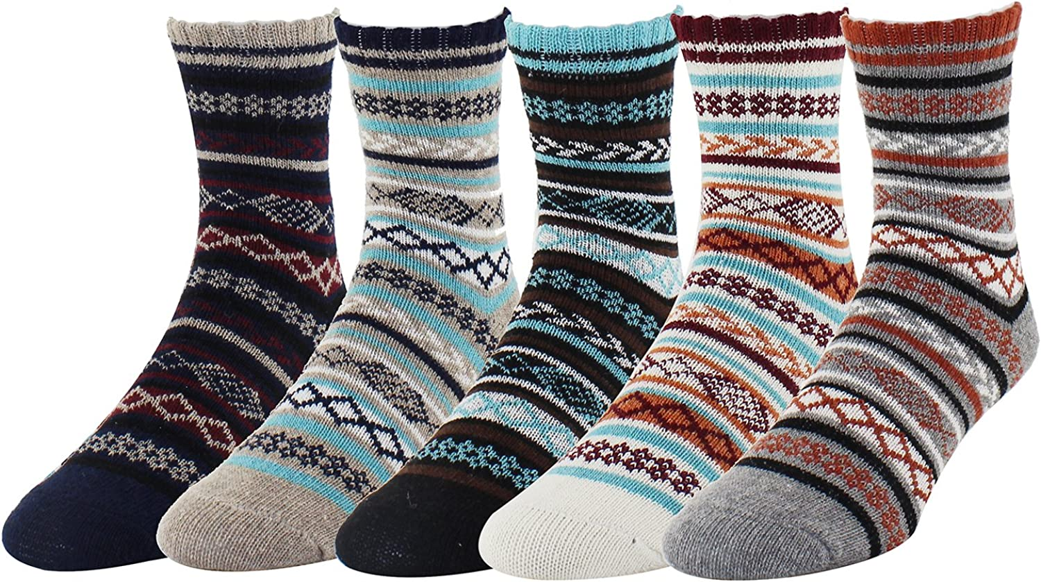 Zmart 5 Pack Men's Business Striped Knit Wool Cozy Socks Cool Colorful Design Gift