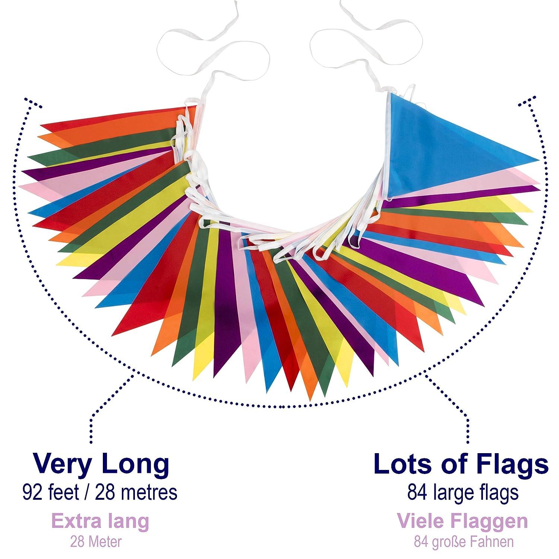 5* Producto Mejor Valorado con 70 Comentarios en  de Reino Unido Paquete de 2: 28 m, 84 Banderas Grandes Guirnalda de Banderines Decorativos de Tela Poli/éster Impermeable Reutilizable de Calidad Superior