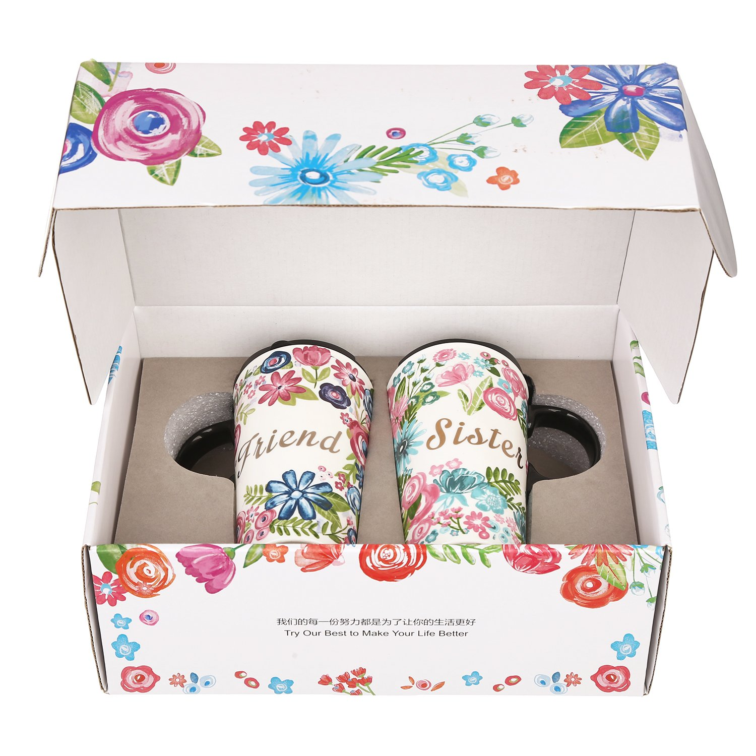 CEDAR HOME Travel Coffee Ceramic Mug Porcelain Latte Tea Cup With Lid in Gift Box 17oz. Sister & Friend, 2 Pack by CEDAR HOME (Image #3)