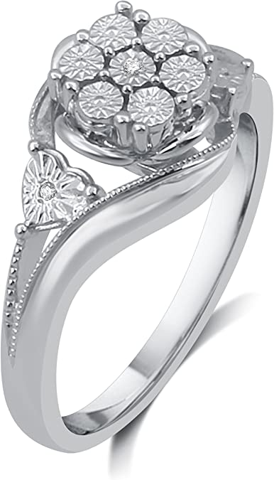 DeCarat Diamond Accent Sterling Silver Flower Cluster Ring