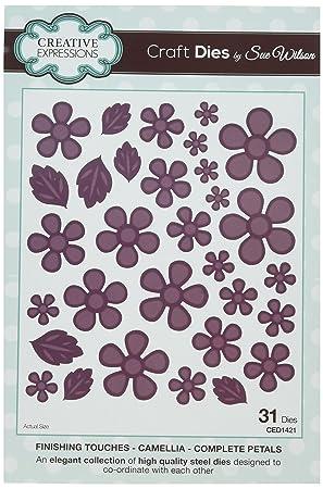 Sue Wilson - Troquel de pétalos completos de Camelia, Color Plateado, 19 x 10 x 0,7 cm: Amazon.es: Hogar
