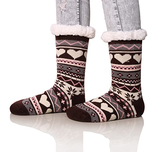1ab4312be994a Dosoni Women's Snowflake Fleece Lining Knit Christmas Knee Highs Stockings  Slipper Socks (Gray)