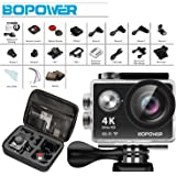 "4K Action Camera, Bopower WIFI Anti-Shake Waterproof Sport Camera with 2.4G RF Remote, Full HD 2.0""Display, 170 degree Ultra Wide Lens, 2Pcs 1050mah Batteries, Ton of Accessories"