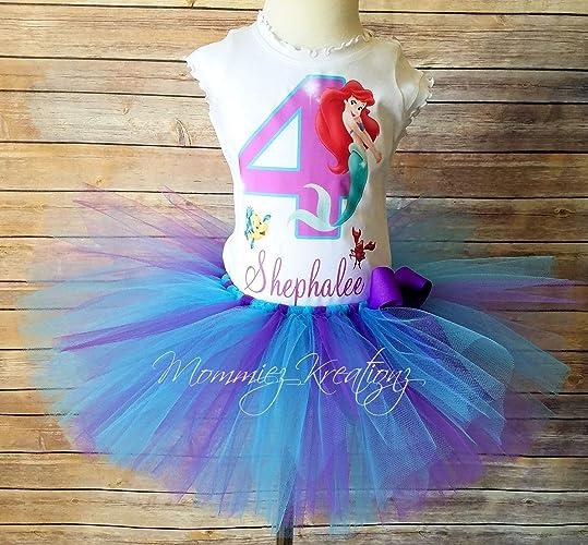 2fb5904f9c46 Amazon.com: Little Mermaid Tutu Set, Ariel Birthday Outfit, Mermaid Tutu:  Handmade
