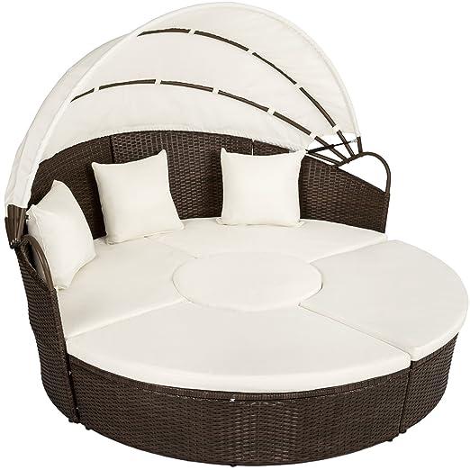 TecTake Conjunto de sillones de ALUMINIO y ratán sintético con un techo isla para tomar el sol - disponible en diferentes colores - (marrón mixto | ...