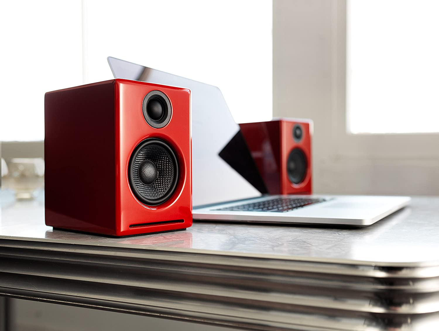 Bluetooth aptX Codec Audioengine A2+ Wireless 60W Powered Desktop Speakers Red Built-in 16Bit DAC and Amplifier