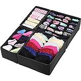 SimpleHouseware Closet Underwear Organizer Drawer Divider Set of 4, Black