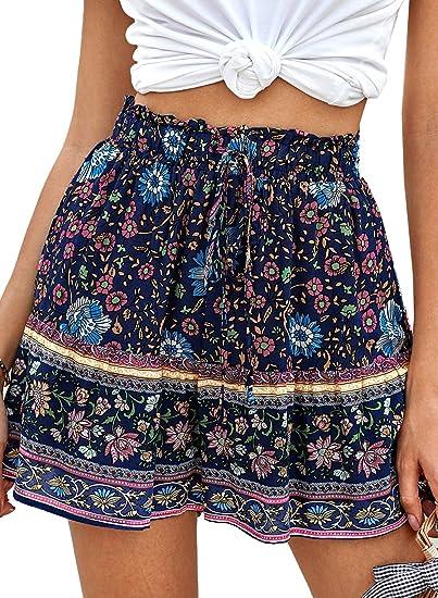 Women/'s Shorts Summer Elastic Waist Drawstring Bohemia Shorts with Pockets Casual Beach Hot Shorts Sport Short Pants