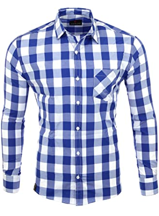 Reslad Hemd Herren kariert Karo-Hemd Flanellhemd-Style Freizeithemd Langarm  RS-7203: Amazon.de: Bekleidung