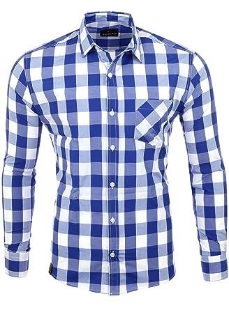 size 40 6ca9c 07db7 Reslad Hemd Herren kariert Karo-Hemd Flanellhemd-Style Freizeithemd Langarm  RS-7203