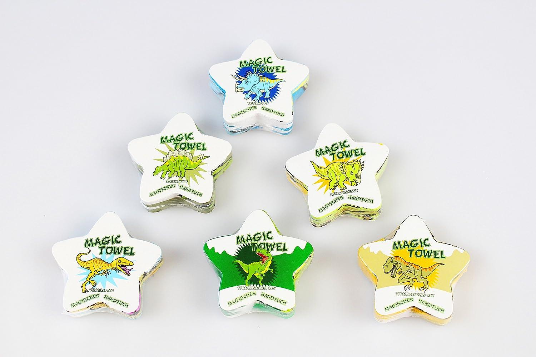 Unbekannt Set di 6 magici Asciugamani magici a Forma di Dinosauri/Dinosauri/Dinosauri, ognuno da ca. 30 cm x 30 cm con splendido Dinosauro – Motivi – in 100% Cotone. ognuno da ca. 30 cm x 30 cm con splendido Dinosauro - Motivi - in 100% Cotone.