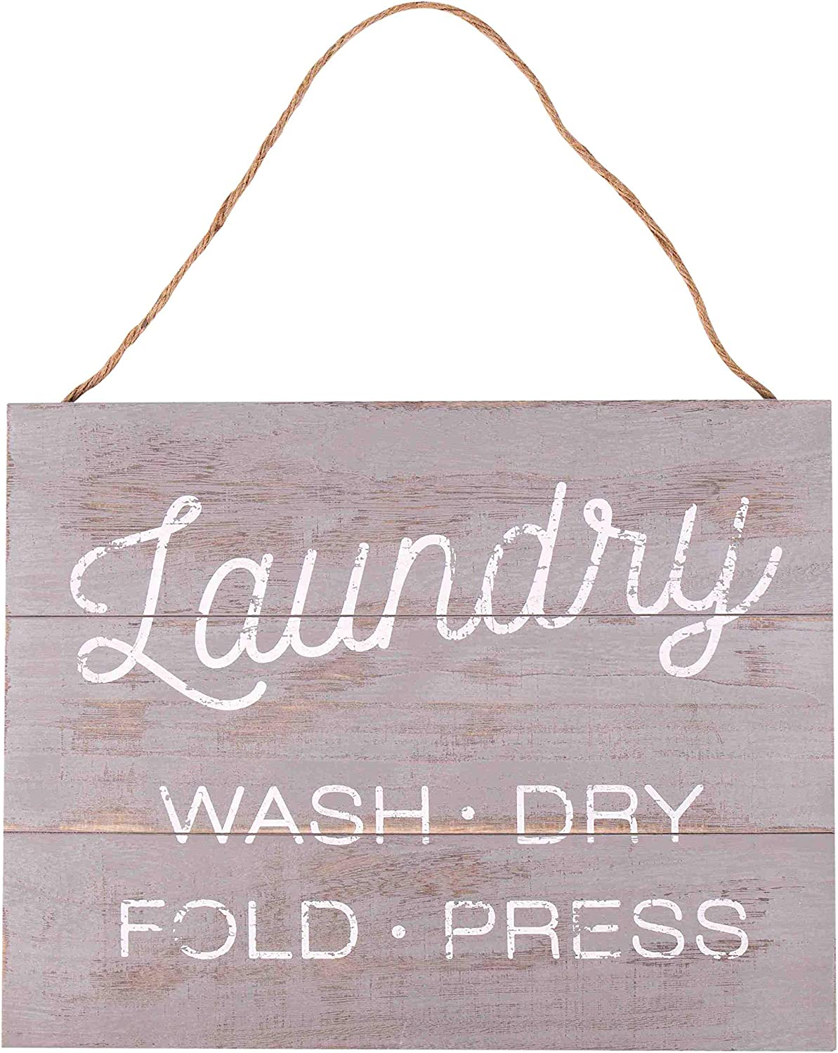 GSM Brands Laundry Wash Dry Fold Press 15.75 x 13 Wood Plank Design Hanging Sign