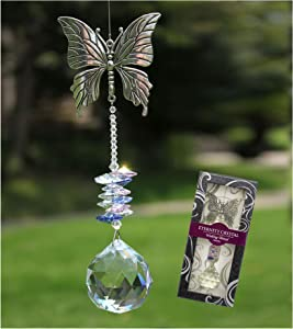 Crystal Garden Suncatcher Hanging Crystals Ornament for Window Rainbow Maker Prisms Home Decor Gift Boxed Sun Catcher Gift Idea for Mom Friends Grandma, Butterfly