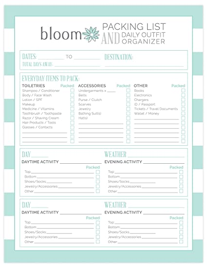 AmazonCom  Bloom Daily Planners Vacation Packing List  Daily
