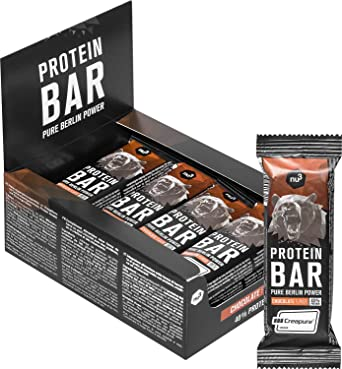 nu3 Barritas de proteínas – Barras deportivas con 40% de proteína sabor chocolate – Mejoradas con whey protein, creatina y creapure – 3.95g de fibra y ...