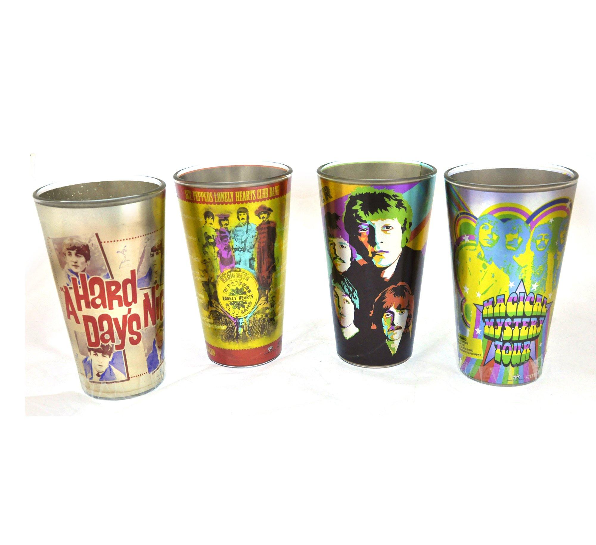 Beatles ''Radio Days'' Artwork Pint Glass Set: 4-Pack by JF