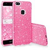 EGO ® Hülle Glitzer Schutzhülle für Huawei P10 Lite, Pink Back Case Bumper Glänzend Transparente TPU Bling Weiche Glamour Handy Cover Lipgloss