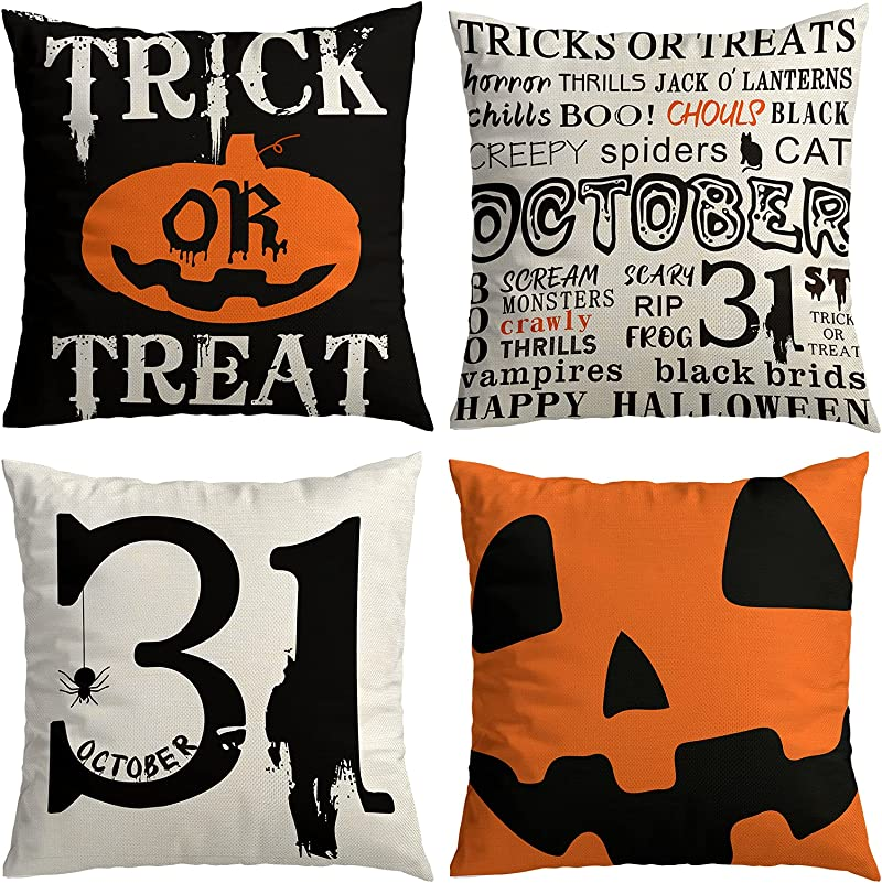 Halloween Decorations Clearance,Set of 4 18x18 Halloween Pillow Covers Decor Indoor Outdoor,Trick or Treat Jack O' Lanterns Spider Halloween Party Farmhouse Decorative Throw Pillow Cases for Home