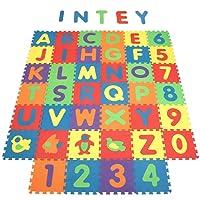 INTEY Tappeto Puzzle Bambini - 40 pezzi Puzzle da Pavimento, Lettere Numeri Animali Rimovibili -Gioco Tappetino puzzle Come Regalo - 32*32cm