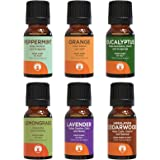 GuruNanda Top 6 Singles Essential Oils Set - 100% Pure and Natural Therapeutic Grade Oil for Aromatherapy Diffuser - Includes Lavender - Peppermint - Eucalyptus - Lemongrass - Orange - Cedarwood