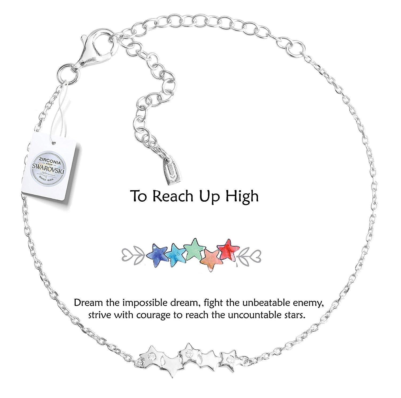 éclatant et Keith Falling étoile Bracelet ♥ pour Atteindre à Haute ♥ Argent Sterling 925réglable Bracelet plaqué Or 18K avec Swarovski Zirconium Vivid&Keith VVB00040RHO