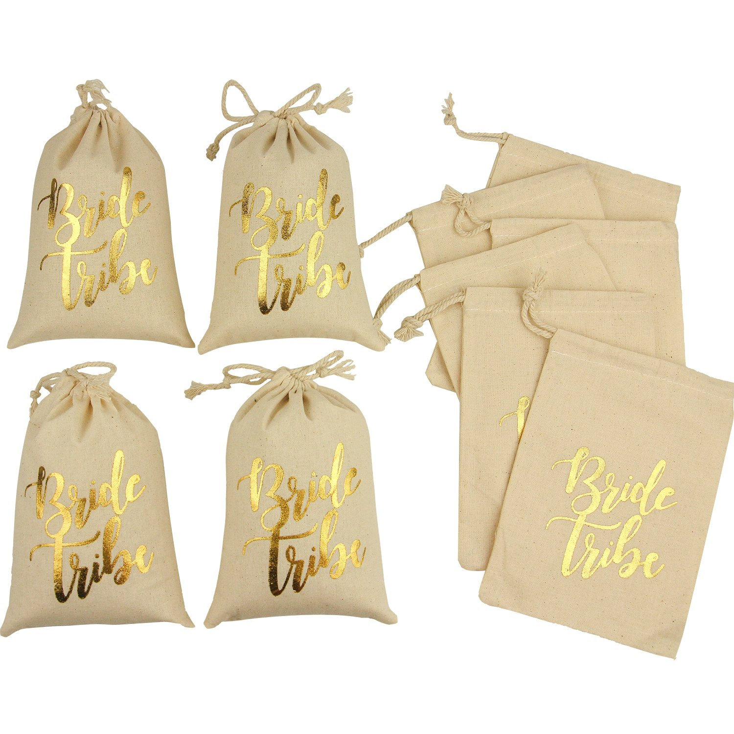 10pcs Wedding Party Favor Bags 5x7 inch Gold FOIL Bride Tribe White Bridesmaid Gift Bags for Bridal Shower Bachelorette Hangover Kit Bags Recovery Kit Bags Cotton Muslin Drawstring Bag