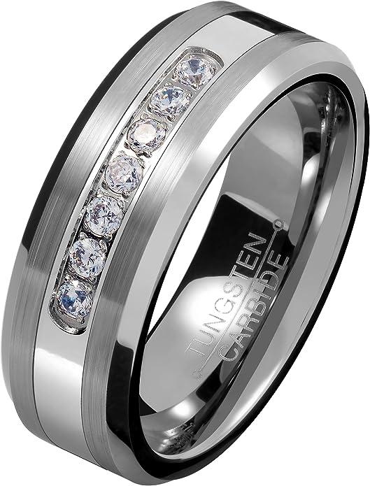 8MM Black Mens Tungsten Carbide Ring w// 7 AAA Zircon Wedding Engagement Bands