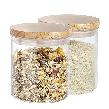 Cajas de almacenamiento Buonostar, juego de 2 piezas de vidrio/de madera natural. Un tarro de vidrio de borosilicato con tapa de madera y junta de silicona.