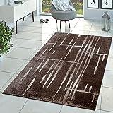 Moderner Wohnzimmer Teppich Matrix Design Kurzflor Meliert Braun Beige Creme,  Größe:60x100 Cm