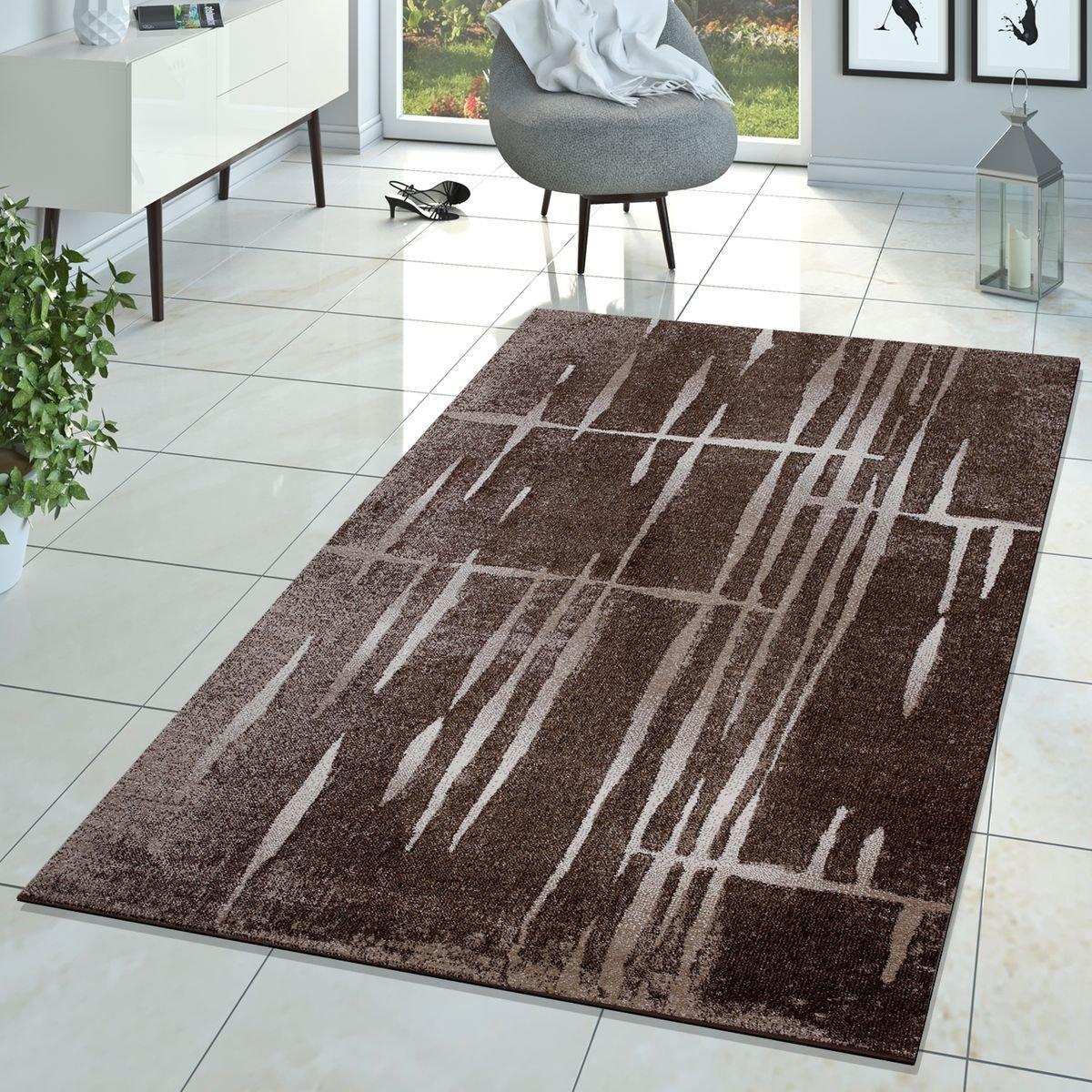 Moderner Wohnzimmer Teppich Matrix Design Kurzflor Meliert Braun Beige Creme, Größe 160x220 cm