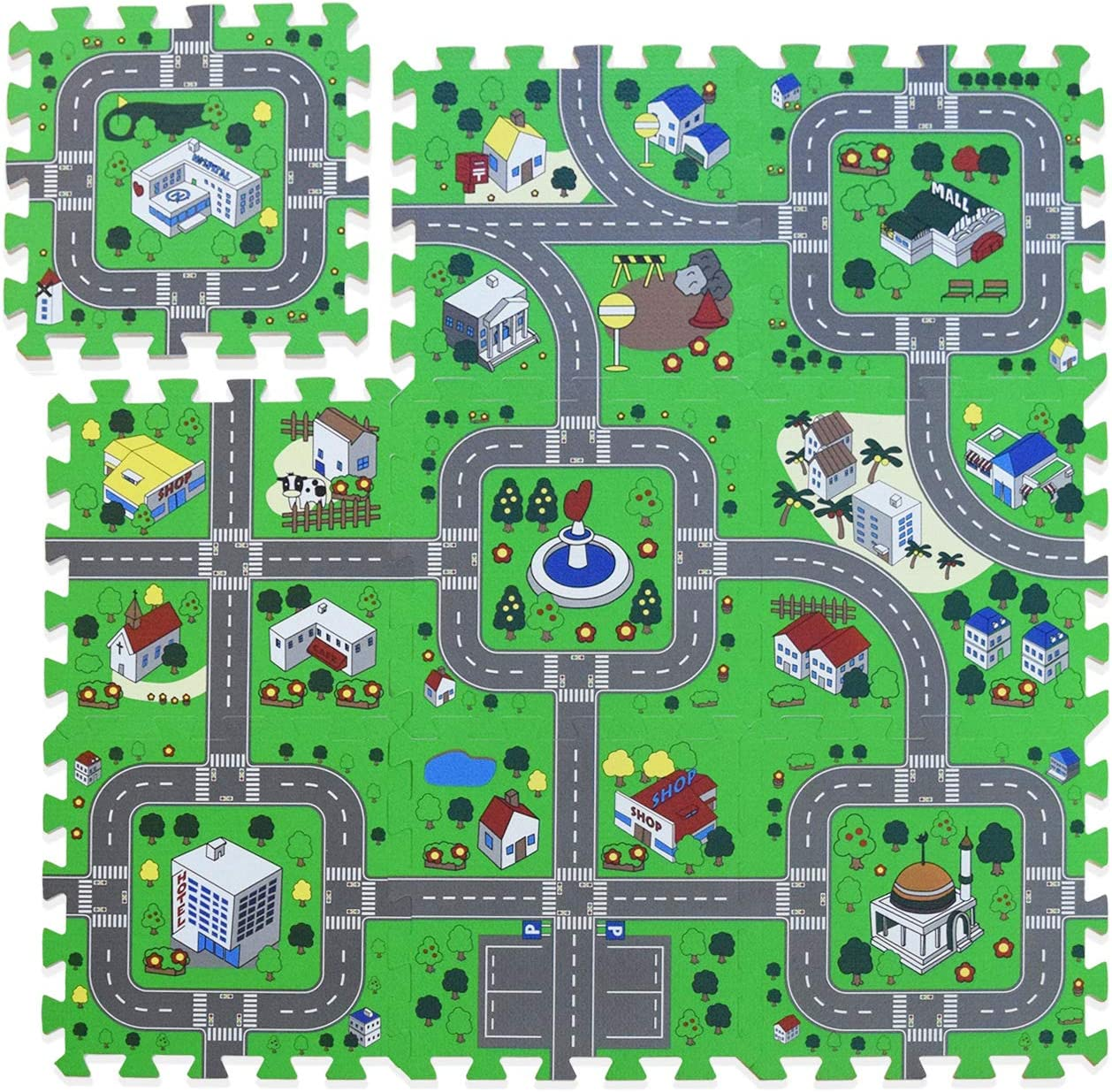 Foam Play Mat Road Toy Playroom Playmat Interlocking Floor Puzzle Road Mat Interactive Play Set (9 Piece Set): Toys & Games
