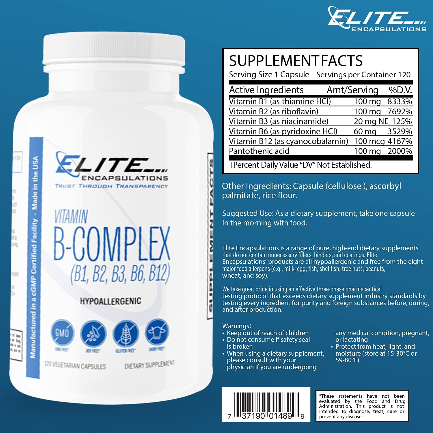 Elite Encapsulations Vitamin B-Complex Dietary Supplement with Vegan Vitamin B1, B2, B3, B6, B12 for Healthy Hair, Skin, Metabolism, Immune System, Stress Relief and More - 120 Vegetarian Capsules